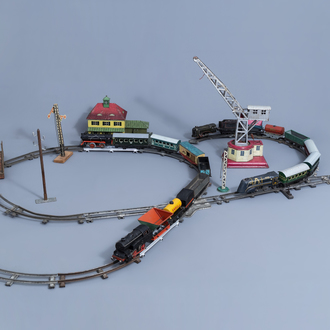 An extensive and diverse collection of toy trains and attributes, various origins (a.o. Karl Bub Nürnberg), 20th C.
