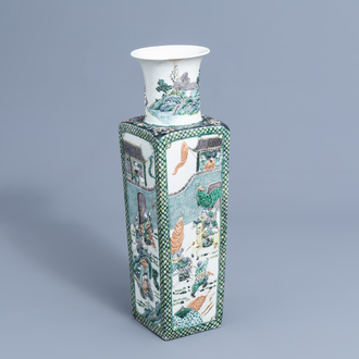 A square Chinese verte biscuit vase with warrior scenes in relief all around, 19th C.