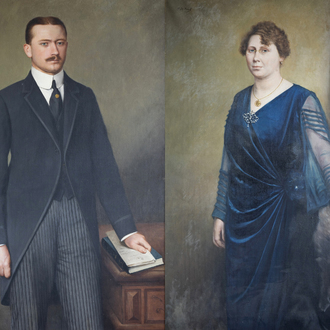 F. De Beule (19th/20th C.): Double portrait of a gentleman and a lady, oil on canvas