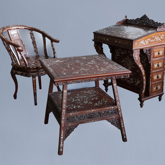 A three-piece Vietnamese bone inlaid wooden bureau ensemble with floral design and animated landscapes, ca. 1900