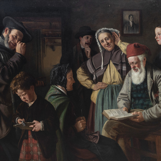 Scottish school, monogrammed OW or WO.: 'Address to Tooth-ache', oil on canvas, dated 1876