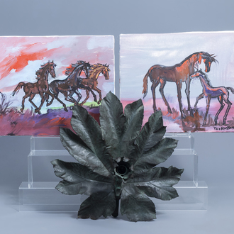 An Italian decorative green patinated metal flower shaped candle holder and two paintings of horses, 20th C.