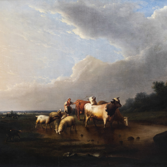 Frans Van Severdonck (1809-1889): A shepherdess with her flock by a pool, oil on canvas, dated 1861