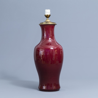 A Chinese monochrome sang de boeuf vase mounted as a lamp, 18th/19th C.