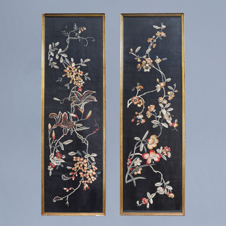 Two Chinese embroidered silk panels with floral designs, 19th/20th C.