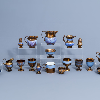 A varied collection of English lustreware items with blue design, 19th C.