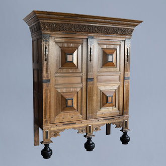 A Dutch oak, ebony and rosewood 'Gelderse kast', 17th C. and later