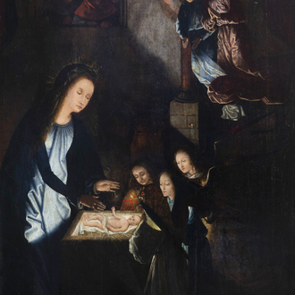Flemish school, in the manner of Gerard David (ca. 1460-1523): The adoration of the shepherds, oil on panel, 16th C.