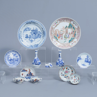 A varied collection of Chinese famille rose, blue and white and Japanese porcelain, 18th C. and later