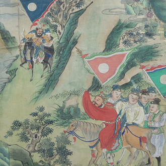 Chinese school, ink and colours on silk, 19th C.: The ceasefire