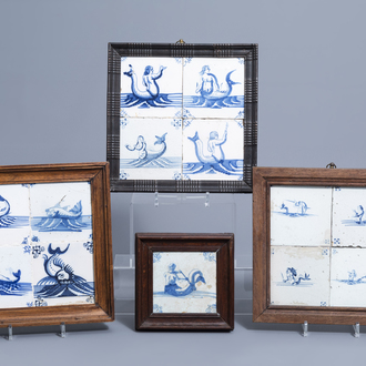 Thirteen Dutch Delft blue and white tiles with sea creatures, 17th/18th C.