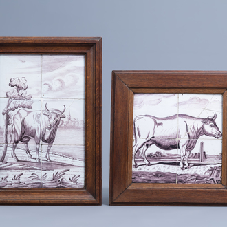 Two manganese Dutch Delft tile murals with a cow, 18th C.