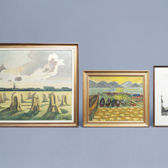 Belgian school: Three various landscapes, etching and oil on canvas, 20th C.