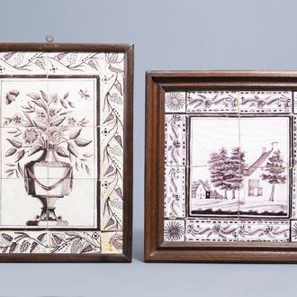 Two Dutch Delft manganese tile murals with a flower vase and a house in a landscape, 18th/19th C.