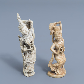 Two carved ivory figures of dancers, India and Bali, early 20th C.