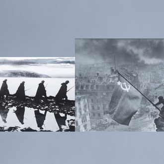 Jevgeni Chaldej (1917-1997): The Soviet flag on the Reichstag, [1945] and 'Russian Marines on the Alert', 1942, gelatine silver print