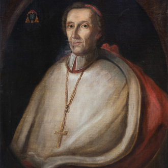 French school: Portrait of a cardinal, oil on canvas, 18th C.