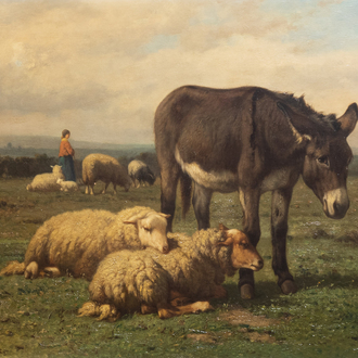 Louis Robbe (1806-1887): Sheep and a donkey in a pasture, oil on panel