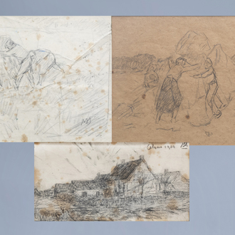 Modest Huys (1874-1932): Three various drawings, pencil on paper