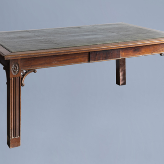An English George II mahogany library table with a gilt tooled green leather top, 18th C.