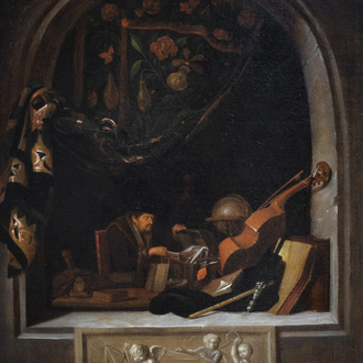 Dutch School, in the manner of Gerrit Dou (1613-1675): The antiquarian, oil on canvas, 17th C.