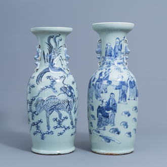 Two Chinese blue and white on celadon ground vases, 19th C.