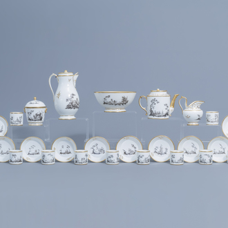 An 28-piece Paris grisaille and gilt porcelain coffee and tea service with animated landscapes, 19th C.