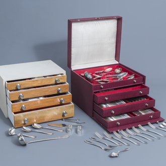 A 129-piece and a 147-piece silver plated cutlery set with matching boxes, Eickhorn and Alpacca, Germany, 20th C.