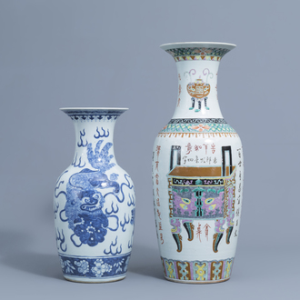 A Chinese famille rose vase with antiquities and a blue and white 'Buddhist lions' vase, 19th C.