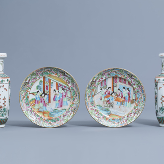 A pair of Chinese Canton famille rose plates and a pair of famille verte vases, 19th C.