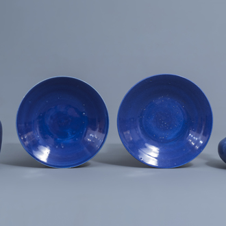 Two Chinese monochrome blue vases and a pair of dishes, 19th C.