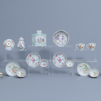 A varied collection of Chinese famille rose tea wares, Yongzheng and later