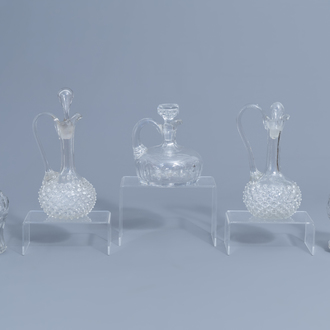 Five glass and crystal carafes, a.o. Verre de Liège, 18th C. and later