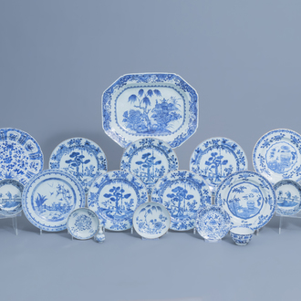 A varied collection of Chinese blue and white porcelain, Kangxi/Qianlong
