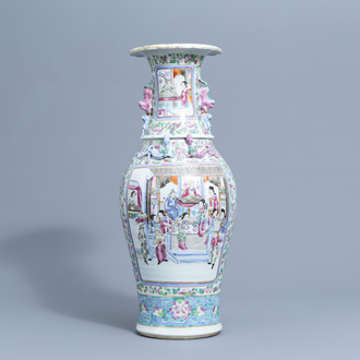 A Chinese famille rose 'court scene' vase, 19th C.