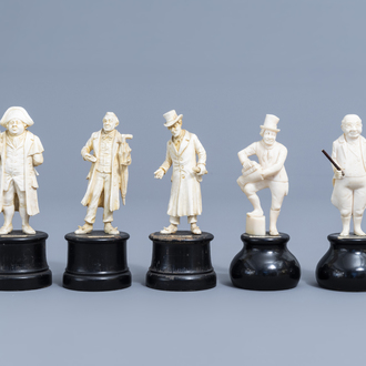Five carved ivory figures of Charles Dickens characters from the 'Pickwick Papers', probably France, Dieppe, late 19th C.
