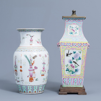 Two Chinese famille rose vases with antiquities and birds among blossoming branches, 19th/20th C.