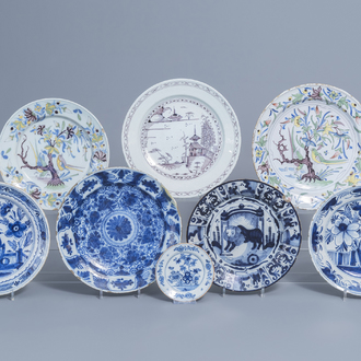 Eight various Dutch Delft blue, white, polychrome and manganese chargers, 17th C. and later