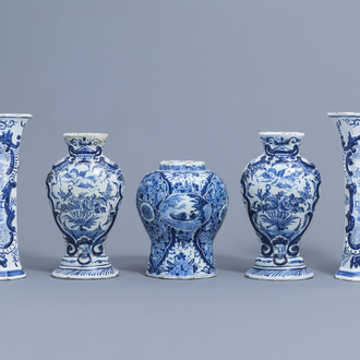 Five various Dutch Delft blue and white vases, 18th C.