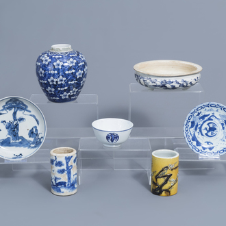 A varied collection of Chinese, blue, white and famille jaune porcelain, 19th/20th C.