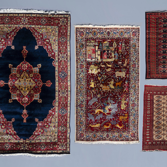 Four various Oriental rugs, wool on cotton, 20th C.