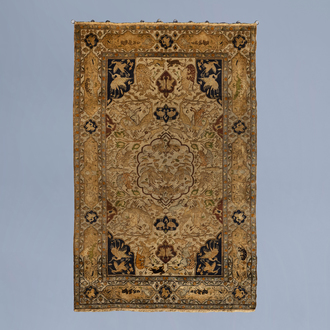 A lavish Oriental rug with animals and floral design, silk and gold thread on cotton, 19th C.