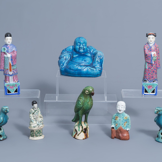A varied collection of Chinese porcelain figures and birds, Kangxi and later