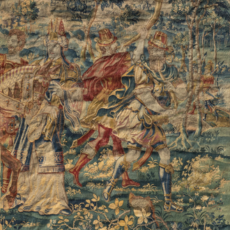 A Flemish historical tapestry (Alexander the Great before the high priest), Southern Netherlands, ca. 1600