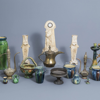 A collection of Flemish pottery, a three-piece Art Nouveau clock garniture, three Persian jugs and a bowl on foot, 19th/20th C.