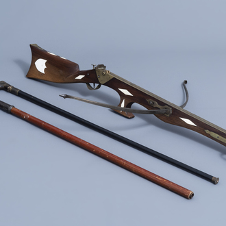 A French Druell(e) crossbow, Douai, and two walking sticks, which can be used as a pistle, 19th/20th C.