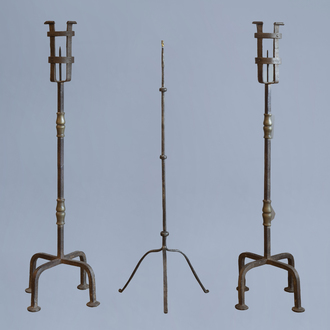 Three large Flemish or French wrought iron pricket candlesticks,18th C. or earlier