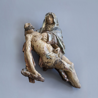 A carved and polychrome painted wood Pietà, most probably Tournai, 16th C.