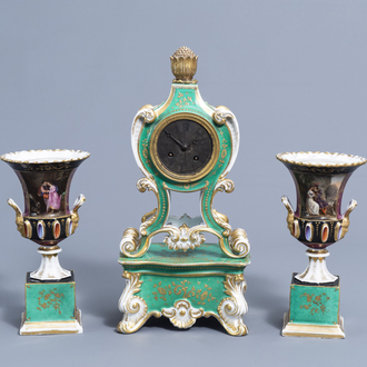 A three-piece gilt and polychrome old Paris porcelain clock garniture with gallant scenes, most probably Jacob Petit, 19th C.