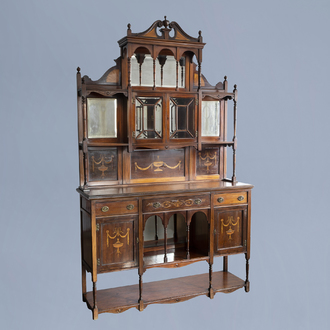 A two-piece English James Shoolbred walnut display cabinet with marquetry, 19th/20th C.